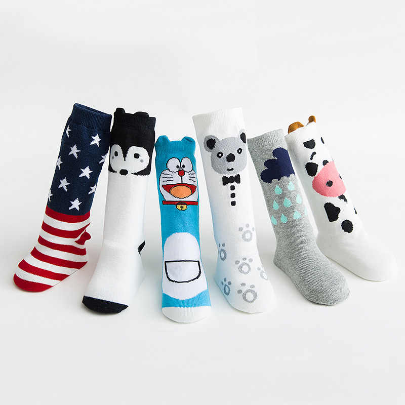 Tier Drucken Knie Hohe Baby Mädchen Socken Anti Slip Cartoon Katze Beinlinge Infant Baby Lange Socken Baumwolle Neugeborenen Baby jungen Socken
