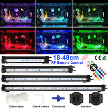 RF remote LED Fish Tank Light Colorful 5050 LED Aquarium Light 18/28/38/48CM Underwater Bubble Light US/EU/AU/UK AC100-240V D30 46cm 18pcs led aquarium fish tank light tube bar light underwater submersible air bubble safe lighting us eu uk saa plug