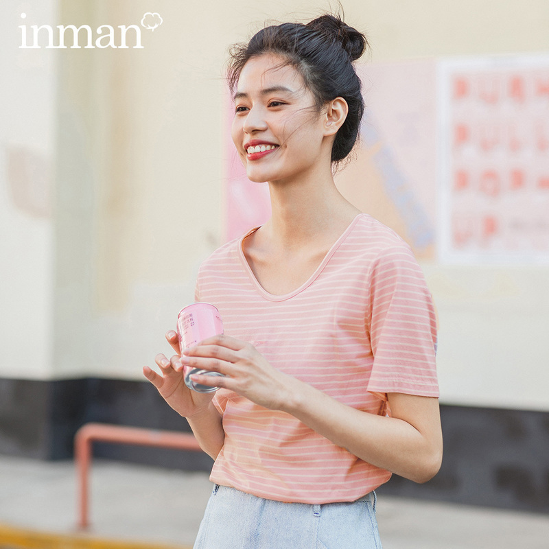 INMAN 2020 Summer New Arrival Literary Pure And Fresh Round Collar Base Leisure All-match Stripe T-shirt