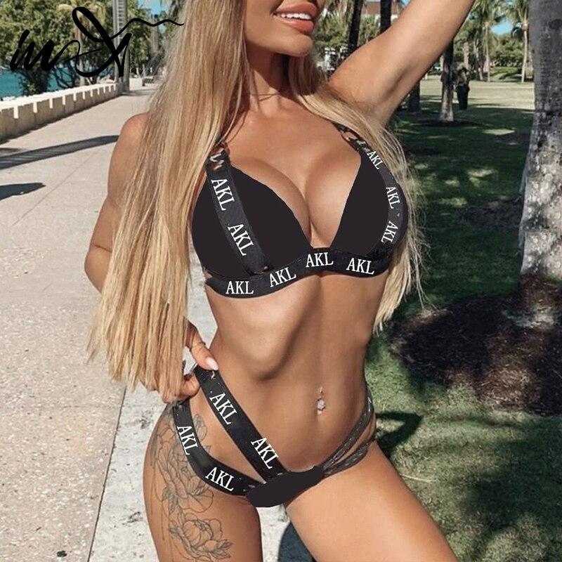 In-X Sexy push up bikini set Letter print swimsuit female Bandage black swimwear women Biquini Swimming bathing suit Bather 2019