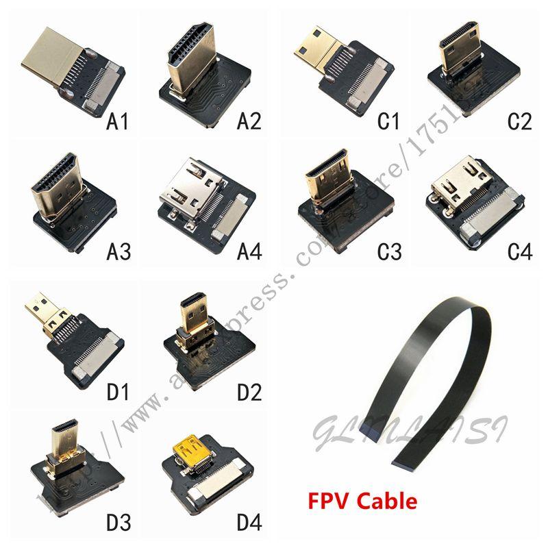 FPV Micro Mini HDMI совместимый адаптер 90 градусов 5 см 100 см FPC плоский кабель HDTV шаг 20 контактный разъем|Компьютерные кабели и разъемы|   | АлиЭкспресс