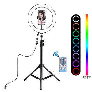 Image 1 - PULUZ 10 inch 26cm RGBW LED Selfie Ring Light Video Vlogging &Tripod Stand Live Broadcast Kits with Remote Control & Phone Clamp