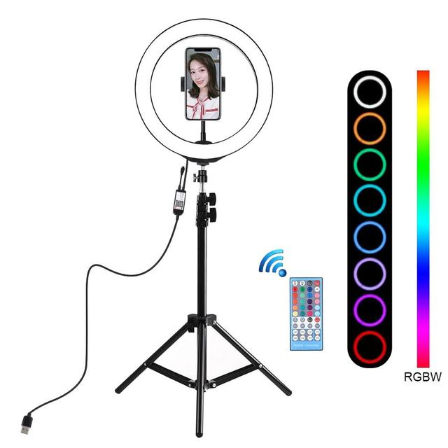 PULUZ 10 inch 26cm RGBW LED Selfie Ring Light Video Vlogging &Tripod Stand Live Broadcast Kits with Remote Control & Phone Clamp