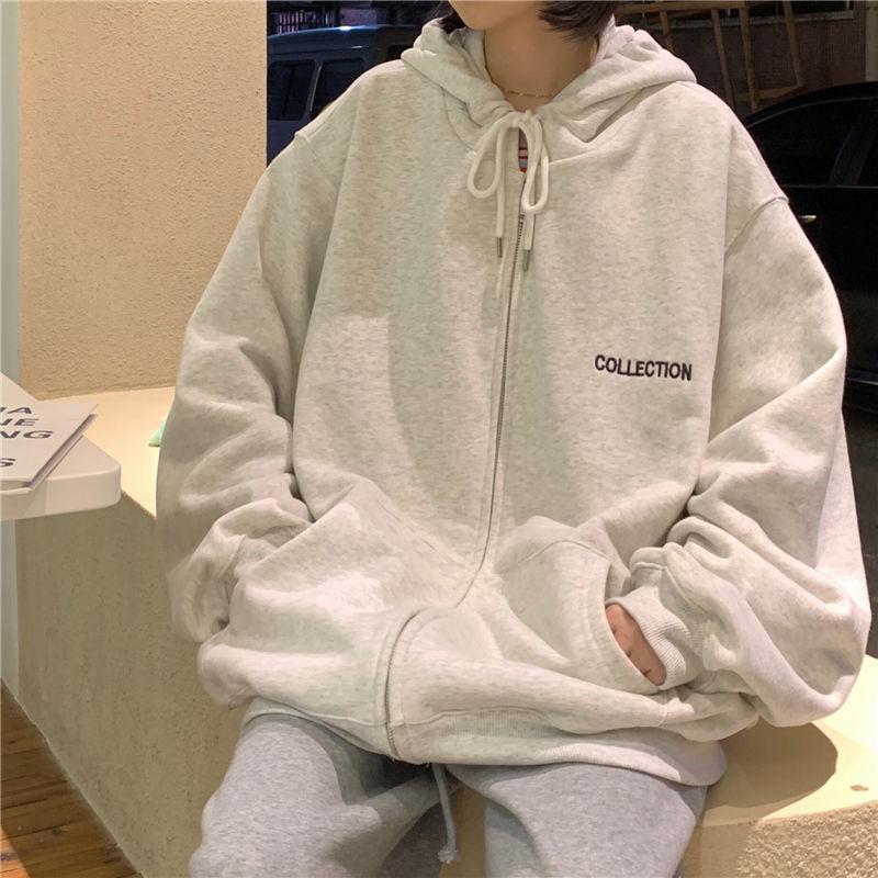 2020 zip-up Harajuku Hoodies Women Loose Casual Sweatshirt New Korean Style Streetwear Oversized Hooded plus size Outerwear 1