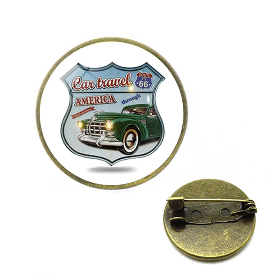 Baru Historic Route 66 Amerika Serikat Bros Rute Kami 66 Kerah Pin Kubah Kaca Perhiasan Pin Kerusakan untuk Tas