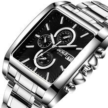 Rechteck Mode Männer Armbanduhr Edelstahl Armband Beiläufige Business Uhren Sport Wasserdichte Große Zifferblatt Uhr Männlichen Uhren