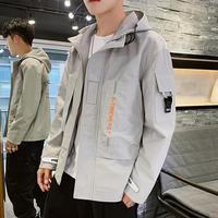 2019 autumn new men Windbreaker tooling jacket coat male young student casual hoodie jacket coat men's Top clothes