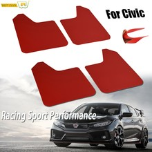 สำหรับ Honda Civic Type R S Si X SE Coupe Tourer W/คลิป 1995-สีแดง Mud Flaps mudflaps Splash Guards Mudguards W/คลิป(China)