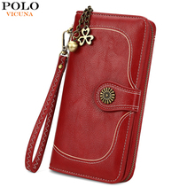 VICUNA POLO High Capacity Ladies Leather Wallets Simple Design Classic Card Holder Clutch Wristlet Wallet For Women