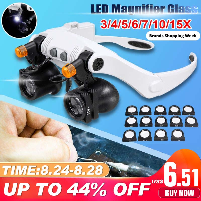 Professional 3X 4X 5X 6X 7X 10X 15X Adjustable 7 Lens Loupe LED Light Headband Magnifier Glass LED Magnifying Glasses With Lamp(China)