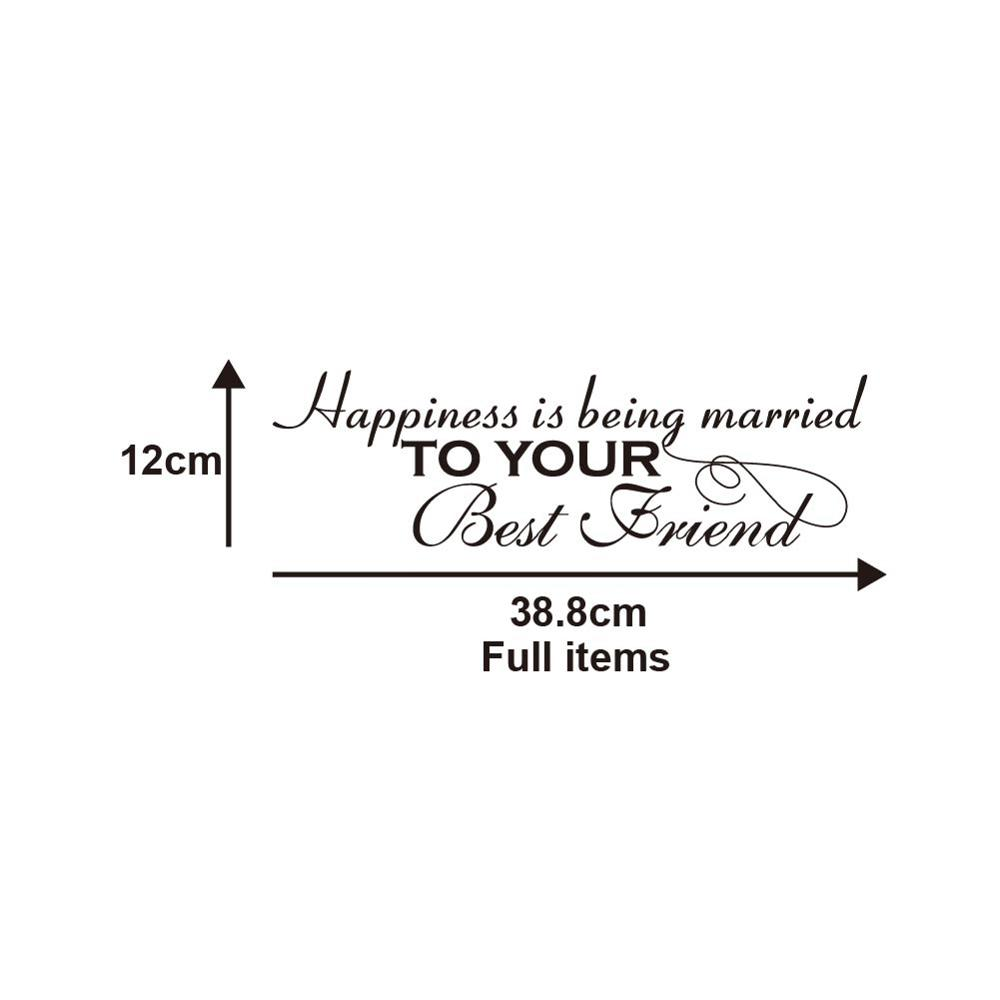 happiness is being married to your best friend Creative English logo sticker household decoration Sticker Removable sticker image