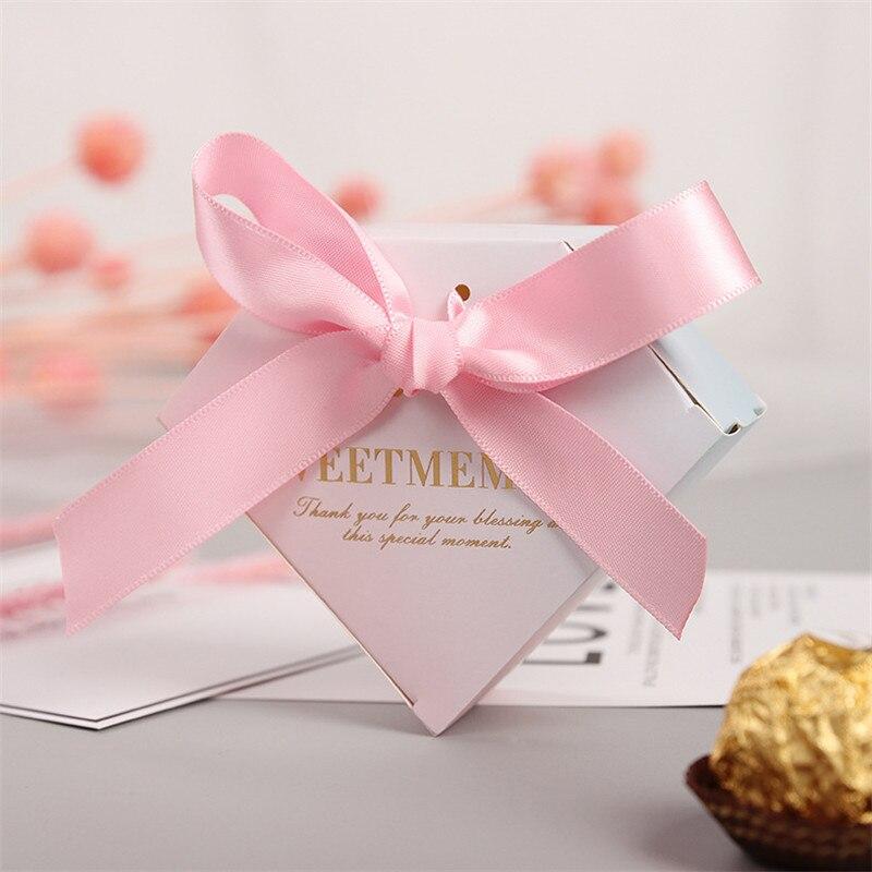 Nouveau diamant rose boîtes à bonbons faveurs de mariage cadeaux bonbons boîte de papier fournitures de fête bébé douche fête d'anniversaire boîte à bonbons de mariage