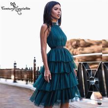 Homecoming-Dresses Short Party-Gowns Vestido-De-Fiesta Tiered Knee-Length Teal Sexy