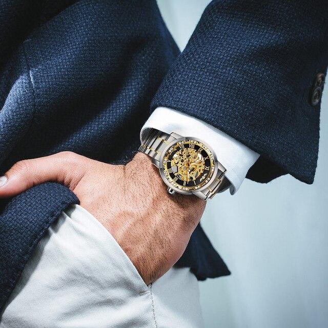 الفائز الرسمي الملكي الهيكل العظمي ساعة ميكانيكية الرجال كريستال مثلج خارج رجالي ساعات العلامة التجارية الفاخرة الصلب حزام الأعمال على مدار الساعة 6