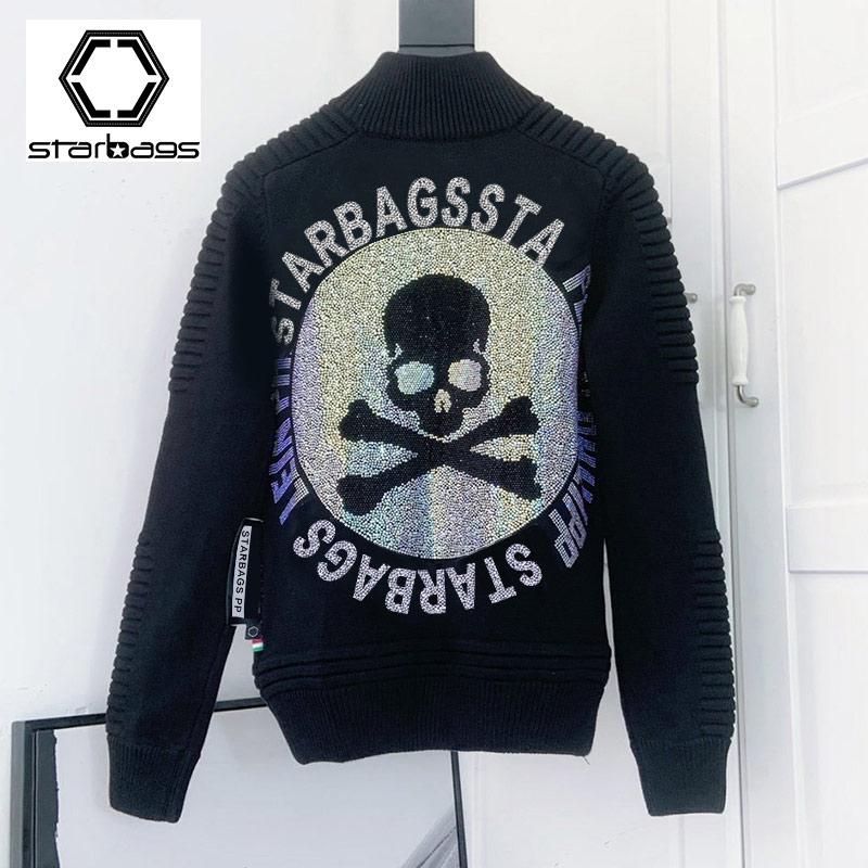 Starbags PP Skull Head Hot Diamond Philipp Fashion Men's Sweater 100% Pure Wool Casual Jacket 2020 New Winter