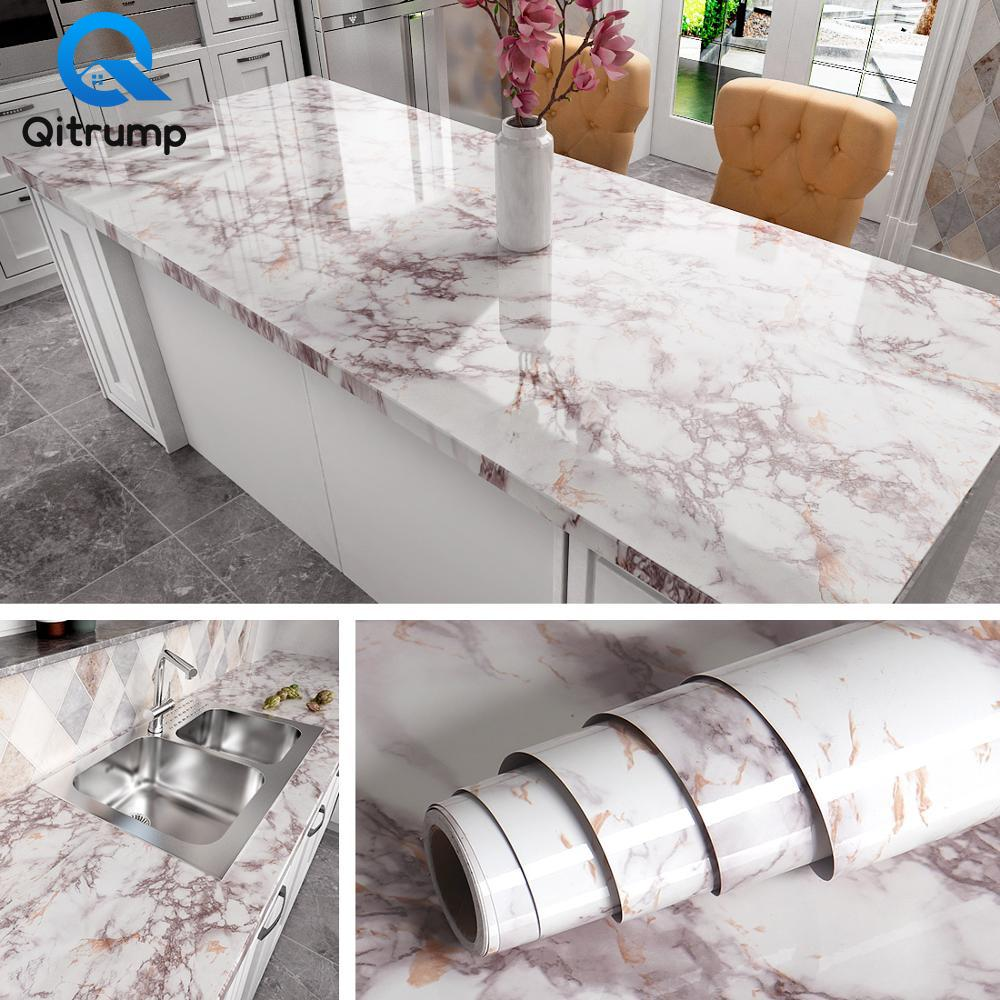 Waterproof Oil-proof Marble Wallpaper Contact Paper Wall Stickers PVC Self Adhesive Bathroom Kitchen Countertop Home Improvement 1