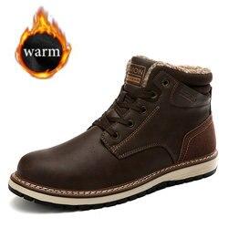 2019 nuevas botas de invierno para hombre Botas de nieve de felpa calientes botas de cuero impermeables botas de trabajo al aire libre hombres Western botas