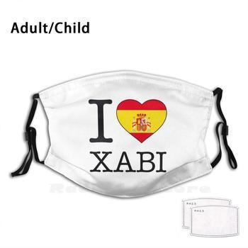 Mascarilla con filtro reutilizable I Love Xabi, máscara facial con estampado divertido...