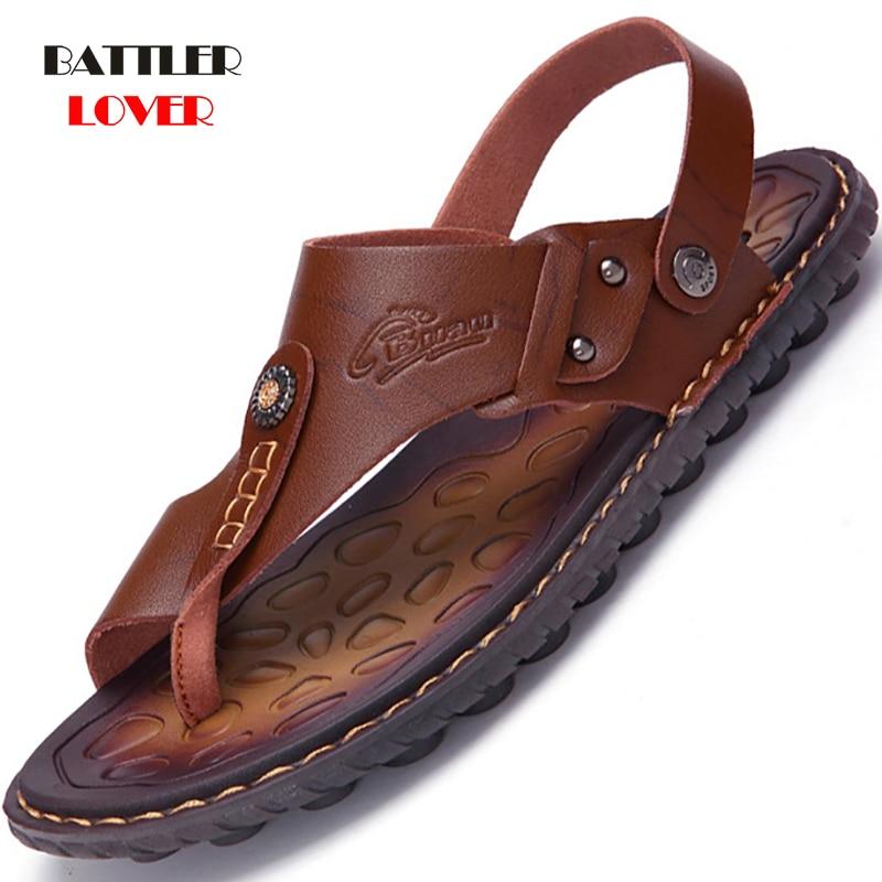Hot Sale Sandals Men Shoes Summer Slippers Men Genuine Cow Leather Sandals Black Beach Slippers Sandalias Hombre Sandale Homme