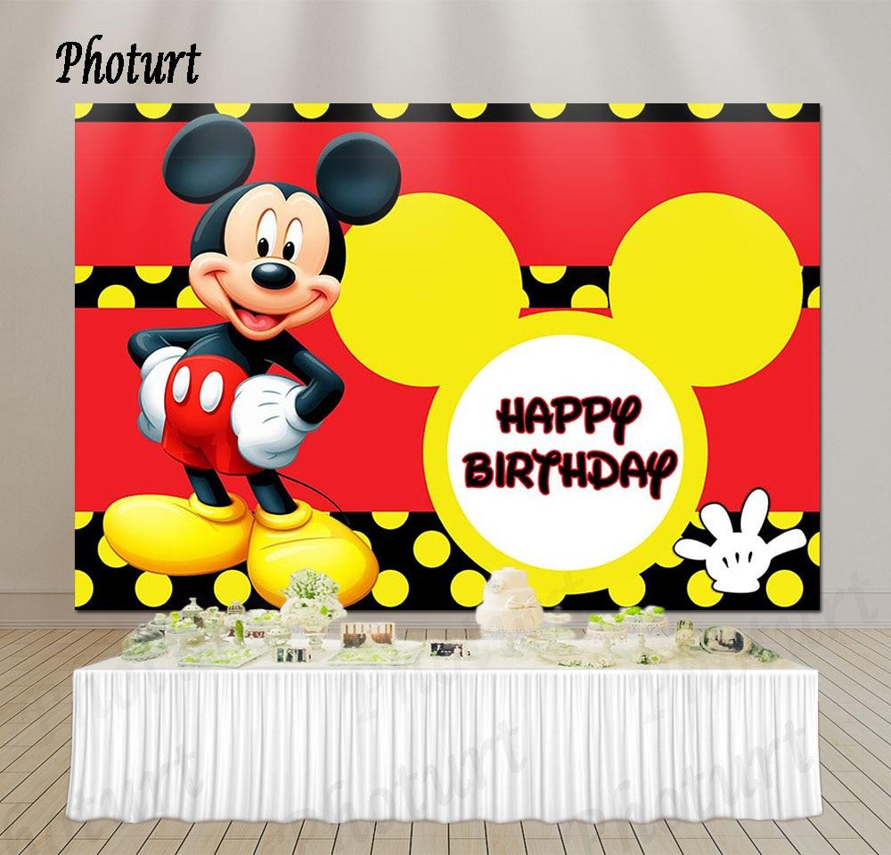 Photurt Mickey Mouse Photography Background Boys Birthday Party Backdrop Disneyland Red Black Vinyl Banner Photo Studios Props Background Aliexpress