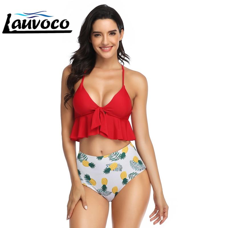 High Waist Bikini Swimwear Women Swimsuit Ruffle Bikini Set Two Pieces Bathing Suits Female Brazilian Swim Sexy Bandage Bikini