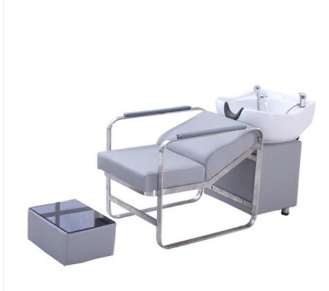 Barber's Shampoo Bed Hair Salon Special Shampoo Bed Chair Stainless Steel Water Bed Ceramic Basin