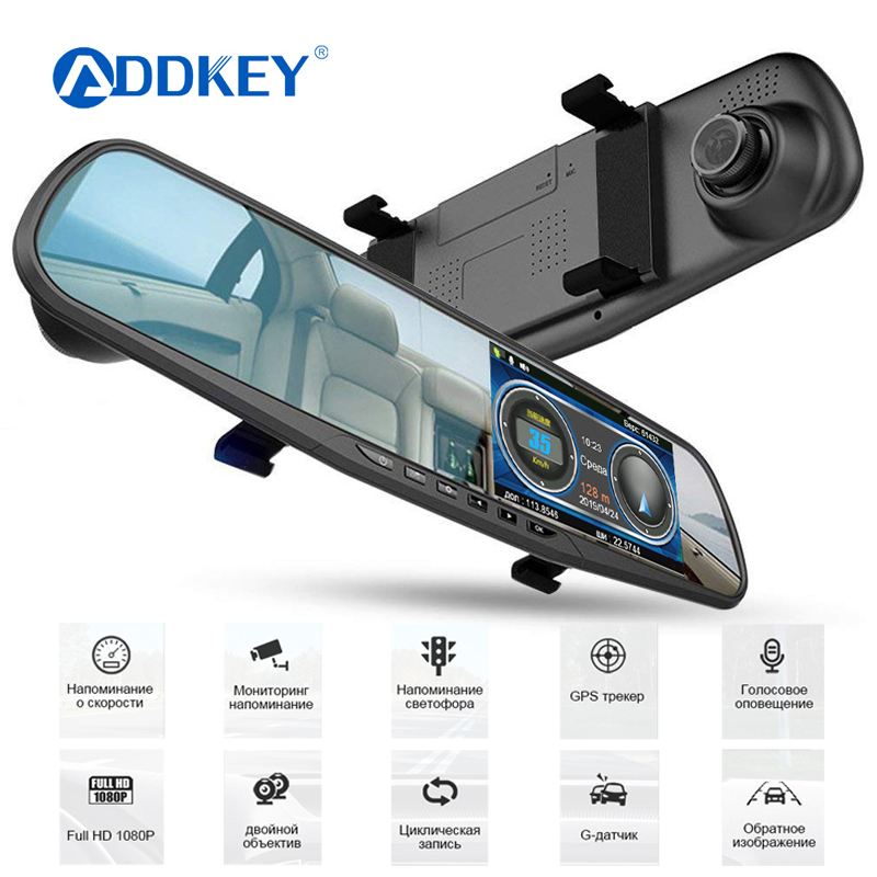 ADDKEY Mirror-Camera Car-Dvr-Radar-Detector Video-Recorder Dash-Cam Dual-Lens 1080P FHD