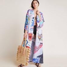 Womens Chiffon/Rayon Beach Blouses Kimono Cardigan Long Bikini Cover Up low cut openwork long kimono beach cover up