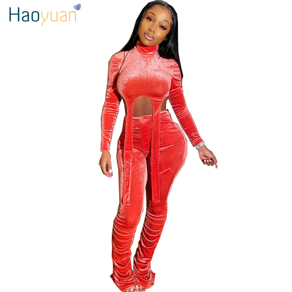HAOYUAN Velvet Two Piece Set Women Rave Festival Clothing Crop Top And Pant Suit Cute 2 Piece Matching Sets Fall Winter Outfits