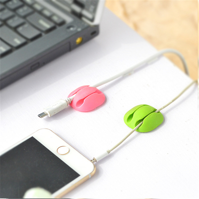 Double Holes Home Office Desk Storage Charger Desktop Phone Cable Organiser Wire Winder Earphone Cable Cord Fixer Holder Clip