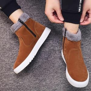 Image 3 - Warm cotton boots plus size velvet autumn winter boots men zipper casual shoes botas wild metal Brand cotton shoes men boots