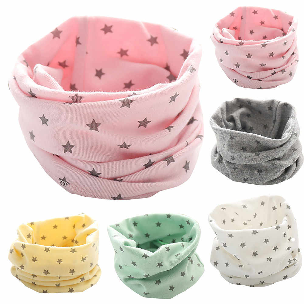 New trendy boy girl Autumn Winter Collar Baby Scarf Cotton O Ring Neck Scarves lucky star print foulard for child scarf 2020