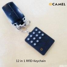 RFID Multiple12 in 1 Keyfob 125khz T5577 EM Writable IC 13.56Mhz M1k S50 UID changeable Card CUID Complex Button Keychain Tag