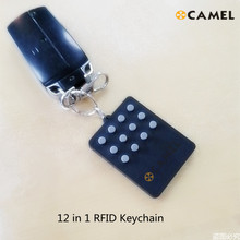 Rfid Multiple12 In 1 Keyfob 125 Khz T5577 Em Beschrijfbare Ic 13.56Mhz M1k S50 Uid Veranderlijk Kaart Cuid Complex knop Sleutelhanger Tag