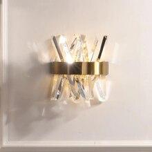 קריסטל קיר אור קבועה שינה לצד זהב קיר מנורות AC 90 260V רחצה led פמוט קיר