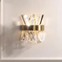 Kryształowa ściana oprawa oświetleniowa sypialnia obok złota ściana lampy AC 90 260V łazienka kinkiet led