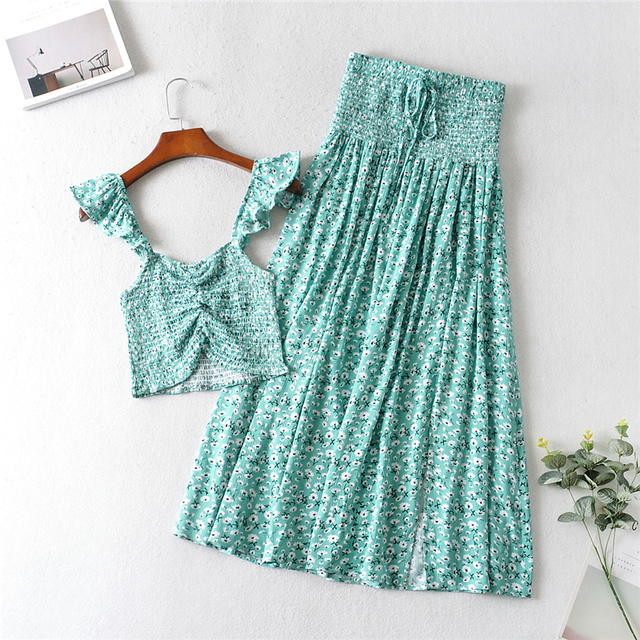 Vintage chic Women two piece outfits strap Sleeveless tops Bohemian Drawstring maxi skirts 2 pieces rayon cotton  Boho sets