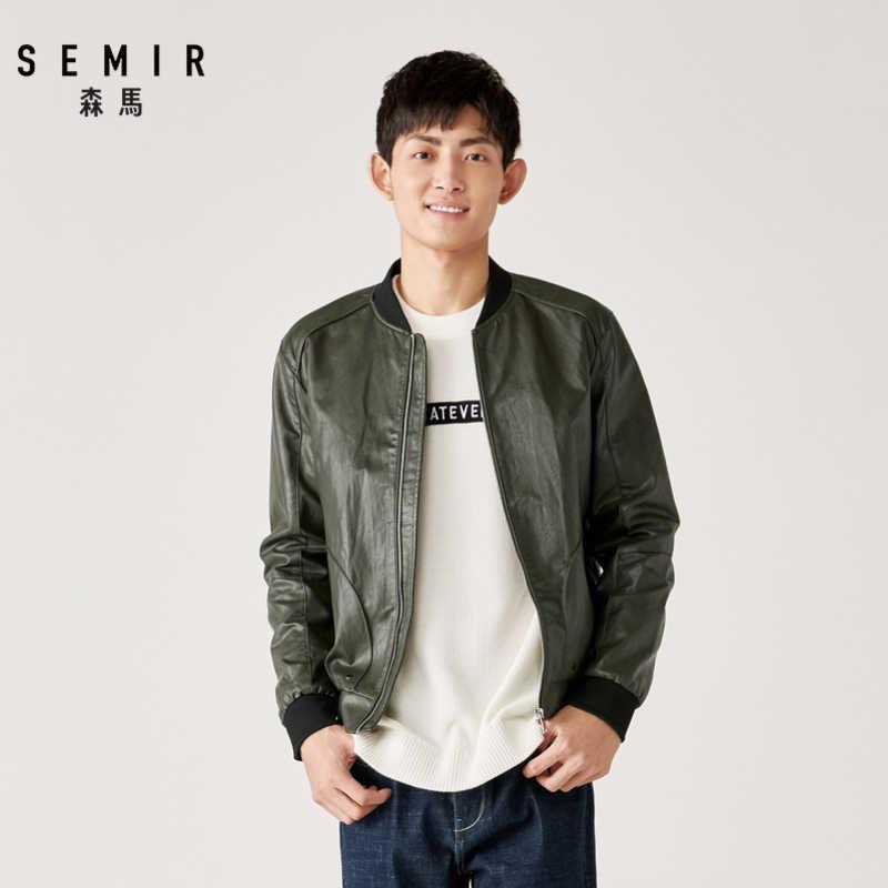Semir PU leder motorrad jacke männer baseball kragen stepp casual schwarze jacke Koreanische hübsche wärme