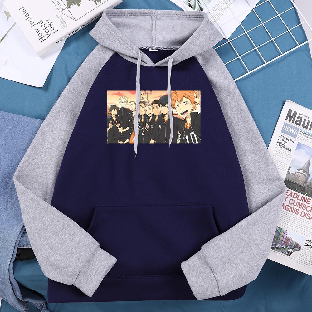 Haikyuu Cartoon High Team Comic Printed Woman Hooded Hip Hop Streetwear Harajuku Fleece Raglan Fall 2020 Trendy Woman Hoodie 3