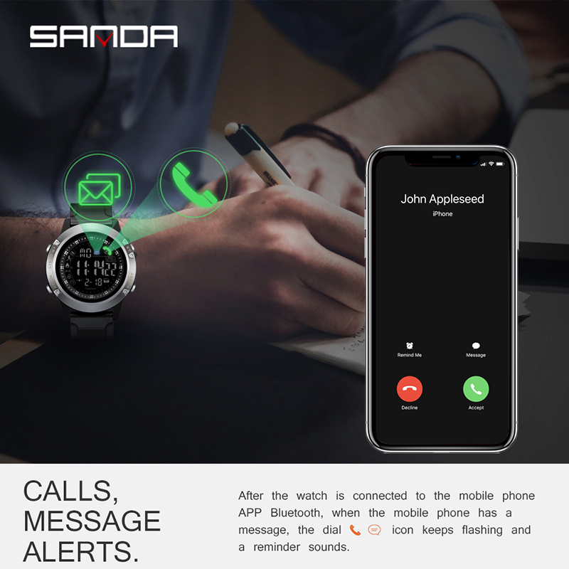 Sanda New Electronic Watch Men 39 s Student Multi function Waterproof Step Counter Smart Sports Watch for Male Reloj inteligente in Smart Watches from Consumer Electronics