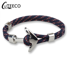 CUTEECO New Pirate Style Alloy Stainless Steel Anchor Bracelet For Men Genuine Nylon rope navy buckle Jewelry Bangles