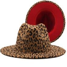Nowe szerokie rondo Leopard czerwony spód Fedora panie kapelusz z filcu wełnianego kobiety mężczyźni Party Trilby Jazz kościół kapelusze Patchwork Panama Cap