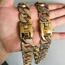 Dog Pet Collar Stainless Steel P Chain 32mm Width Luxury Rhinestone Pitbull Bulldog Rottweiler Heavy Trainning Large Dog Collar