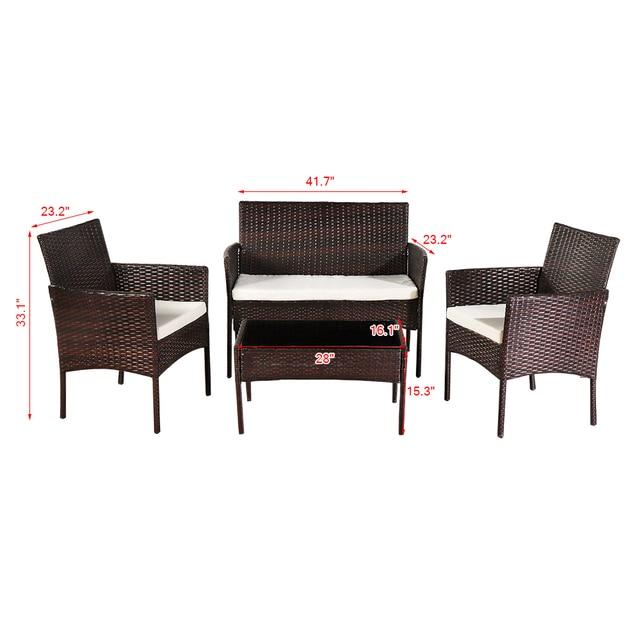 4 Pcs Outdoor Sofa  Porch Bistro Sets  6