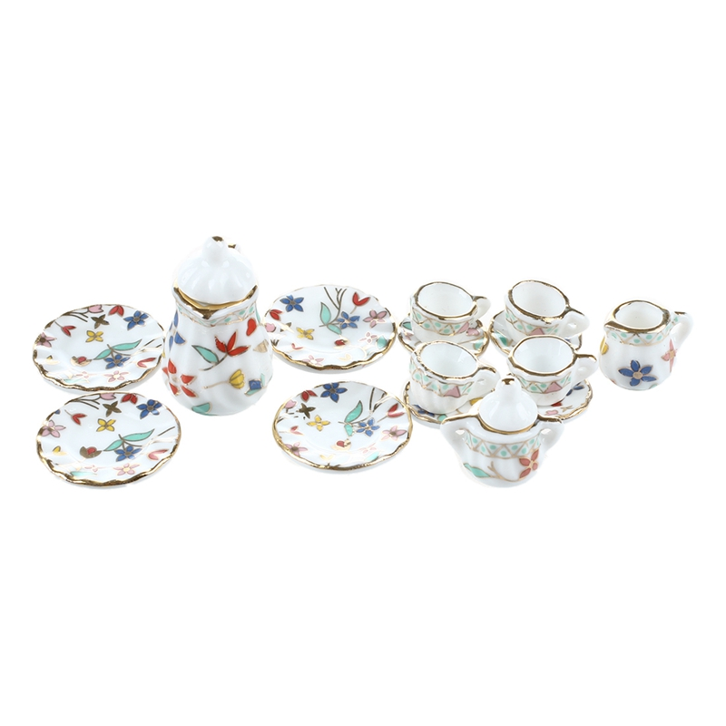 15 Piece Miniature Dollhouse Dinnerware Porcelain Tea Set Tableware Cup Plate Colorful Floral Print