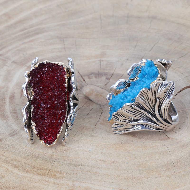 Kinel Pedra Natural Grandes Mulheres Do Vintage Antigo Anel de Prata Anéis de Casamento do Presente da Festa de Moda Flor De Cristal Vermelho Noiva J1248