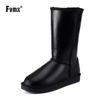 asumer black fashion winter snow boots round toe keep waem knee high boots zip shearling comfortable pu cow leather boots women FVMX Classic Women Waterproof Knee High Sheepskin Leather Winter Boots Shearling Wool Fur Lined Snow Boots Keep Warm Shoes Black