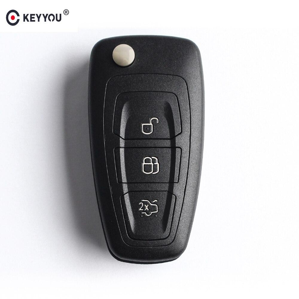 KEYYOU 3 botones Flip carcasa de la llave a distancia del coche para Ford Focus 3 Fiesta 2013 conecte el mondeo c max llave Fob caso HU101/FO21 hoja