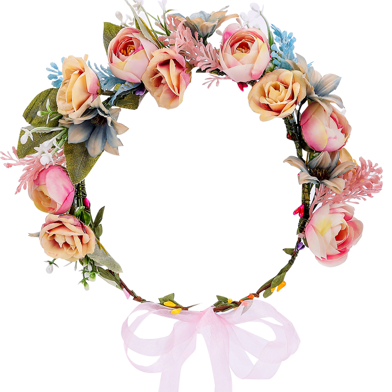 Wedding Flower Crown Bridal Headband Floral Hair Wreath with Ribbon Maternity Girl Headwear Hair Accessories For Women