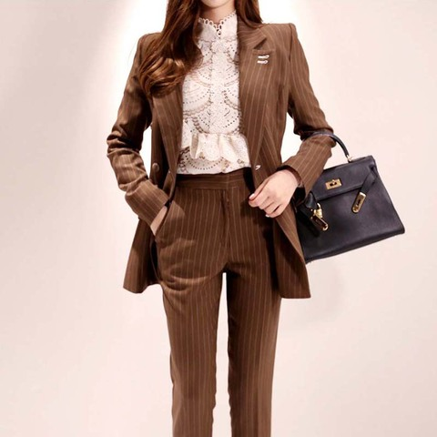 2019 New Office Work Striped Blazer Suits Of High Quality OL Women Pants Suit Blazers Jackets With Trouser Two Pieces Set Islamabad